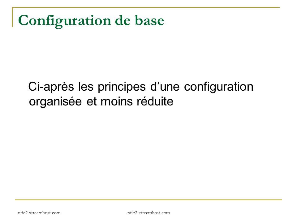 Configuration de base Ci-après les principes d'une configuration organisée et moins réduite ntic2.xtreemhost.com.