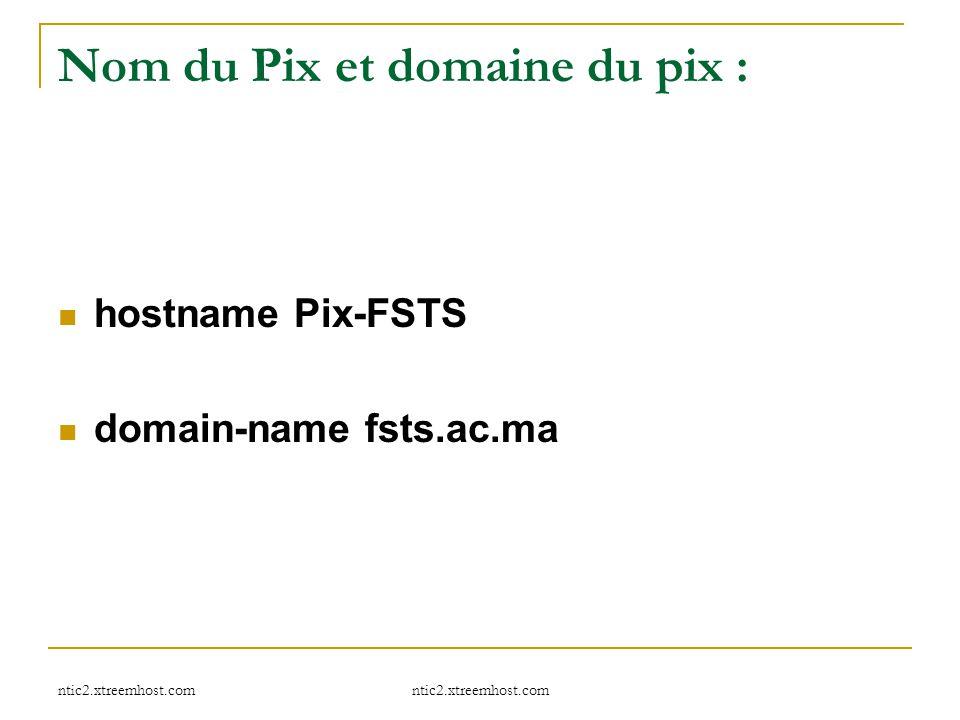 Nom du Pix et domaine du pix :