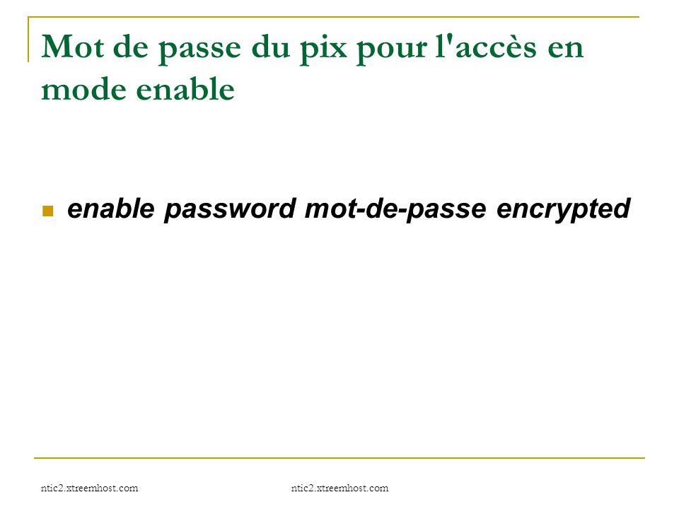 Mot de passe du pix pour l accès en mode enable