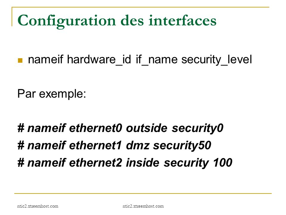 Configuration des interfaces