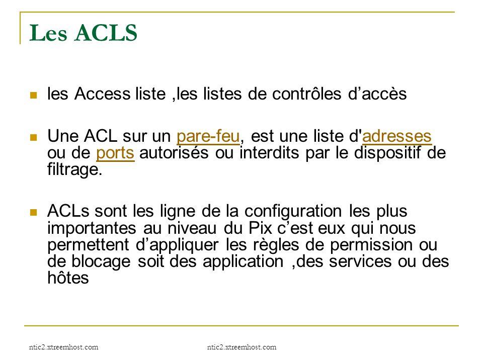 Les ACLS les Access liste ,les listes de contrôles d'accès
