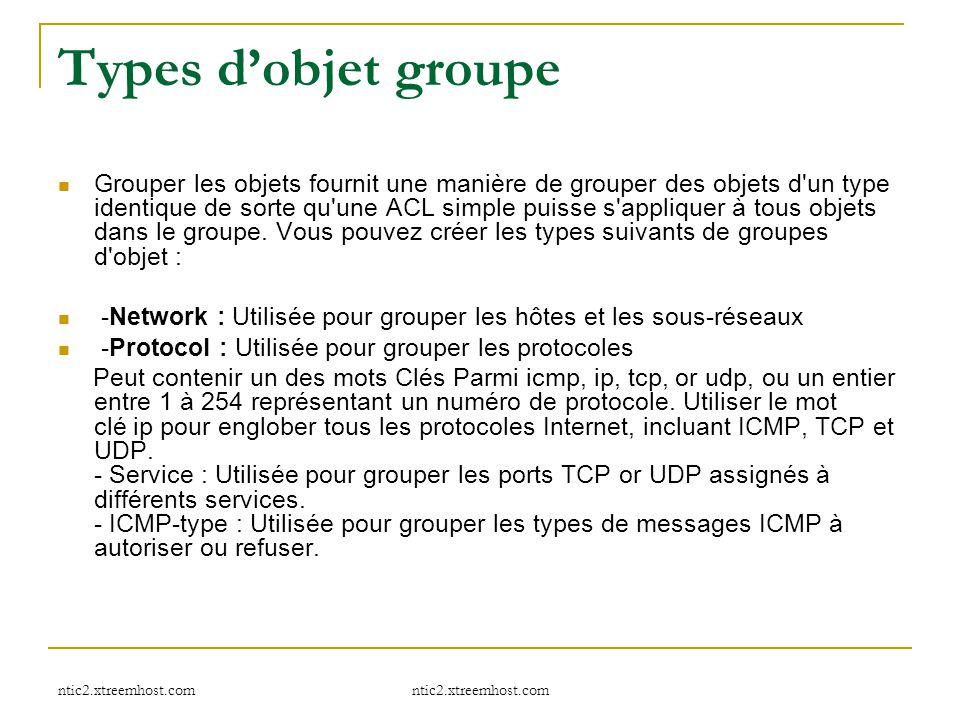 Types d'objet groupe