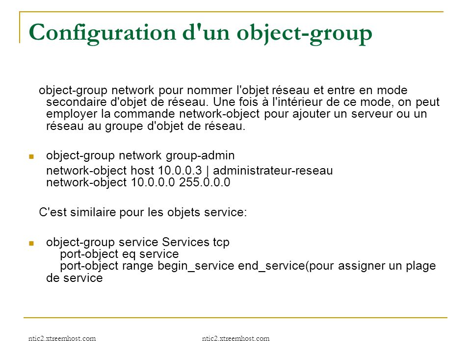 Configuration d un object-group