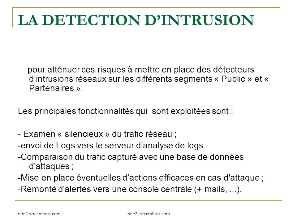 LA DETECTION D'INTRUSION