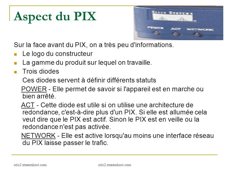 Aspect du PIX Sur la face avant du PIX, on a très peu d informations.