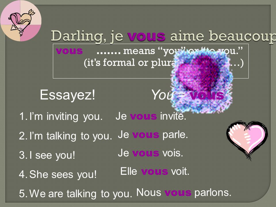 Darling, je vous aime beaucoup!