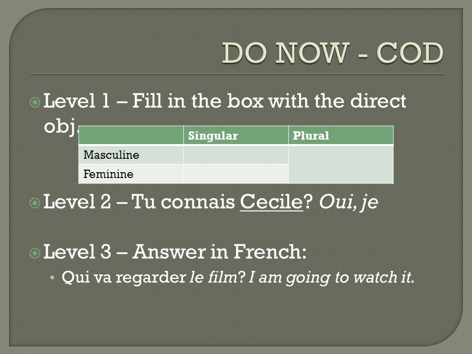 DO NOW - COD Level 1 – Fill in the box with the direct obj.
