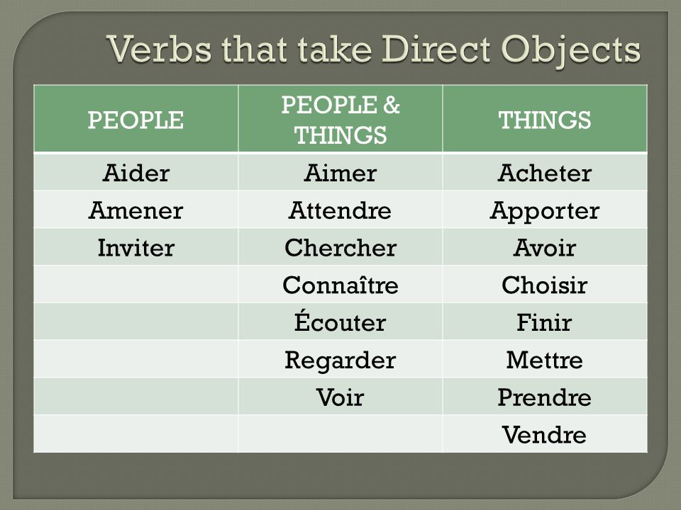 Verbs that take Direct Objects