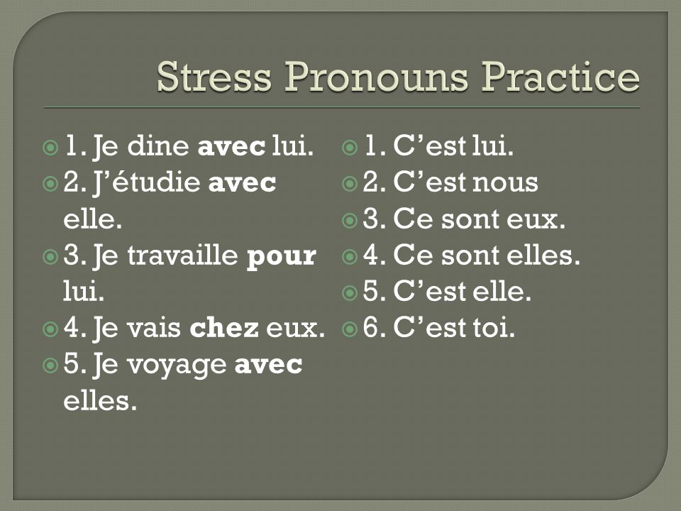 Stress Pronouns Practice