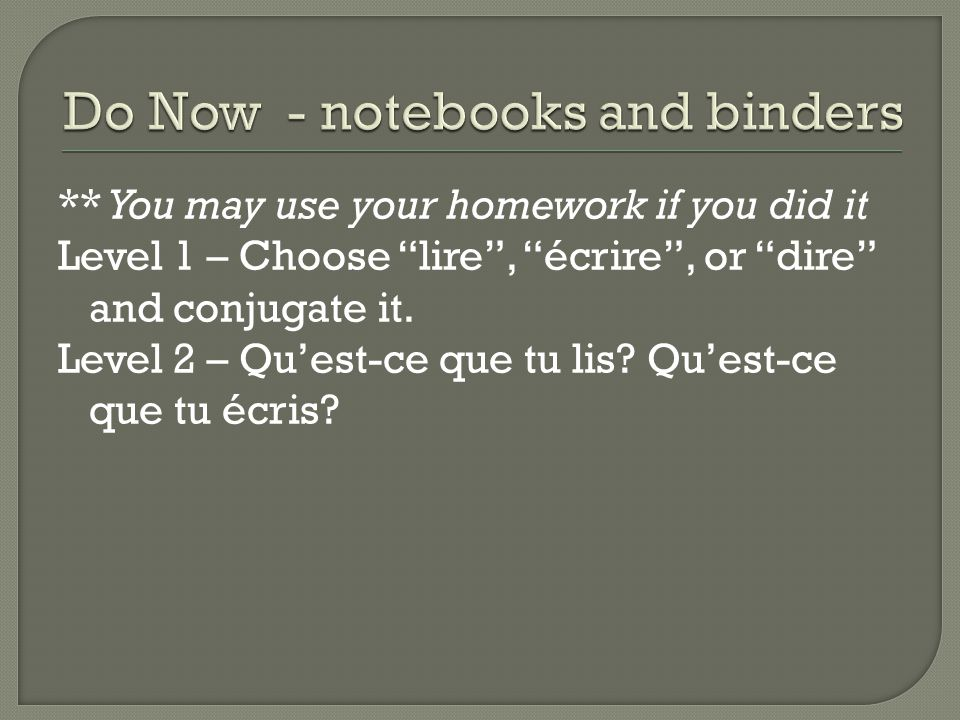 Do Now - notebooks and binders