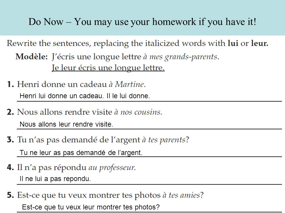 Do Now – You may use your homework if you have it!