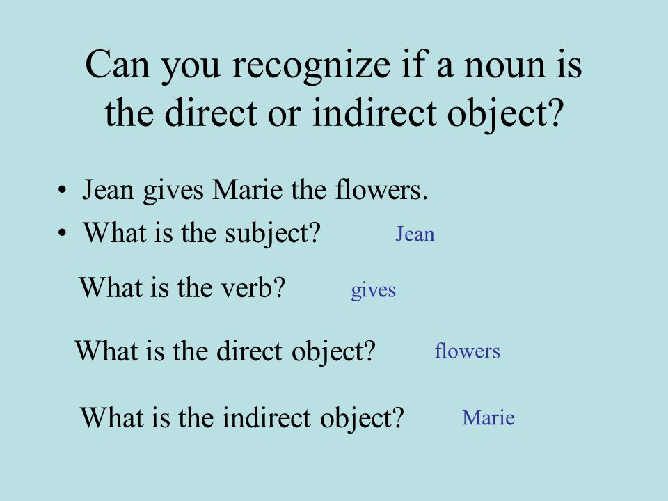 Can you recognize if a noun is the direct or indirect object