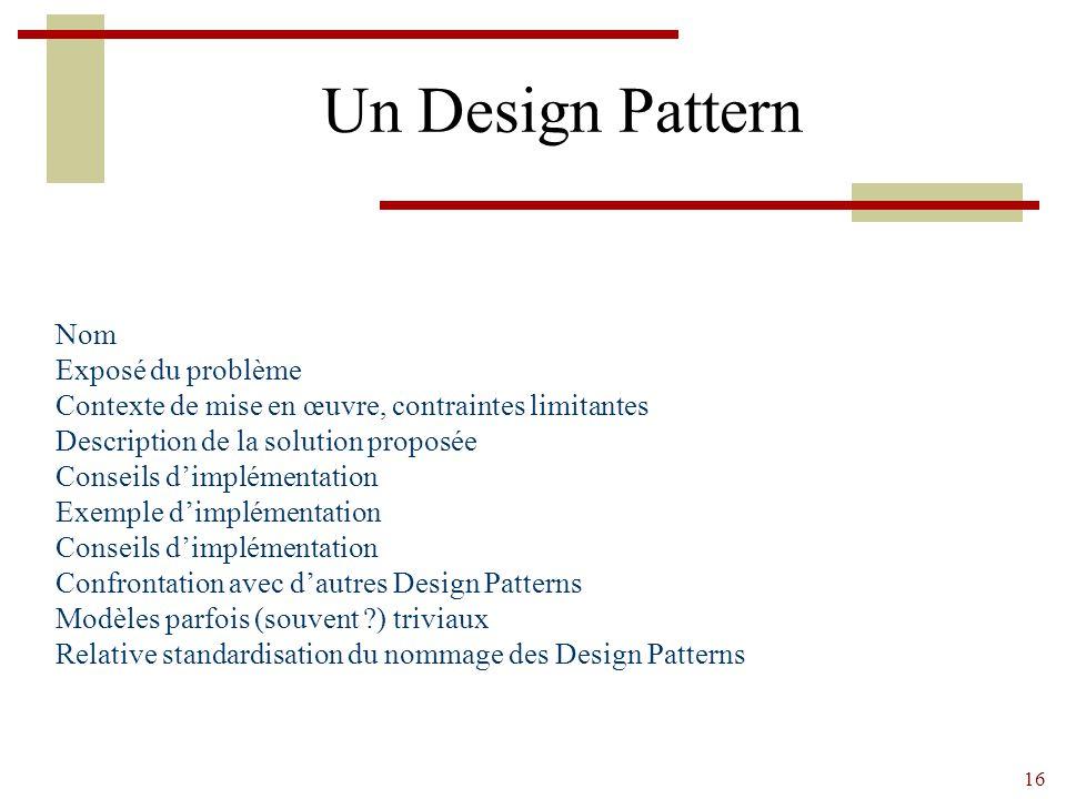 Un Design Pattern Nom Exposé du problème
