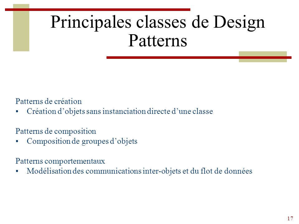 Principales classes de Design Patterns