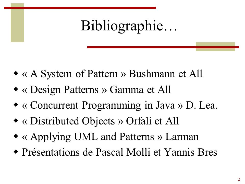Bibliographie… « A System of Pattern » Bushmann et All