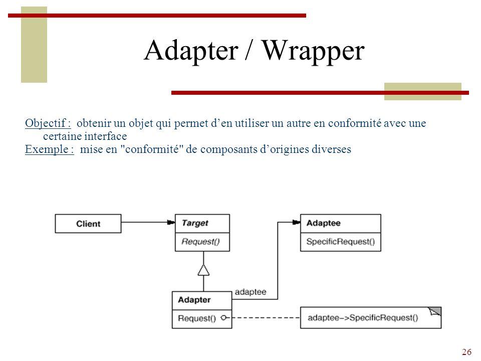 Adapter / Wrapper Objectif : obtenir un objet qui permet d'en utiliser un autre en conformité avec une certaine interface.
