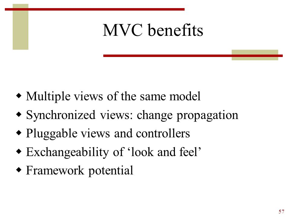 MVC benefits Multiple views of the same model