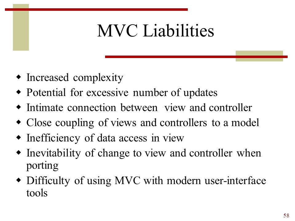 MVC Liabilities Increased complexity