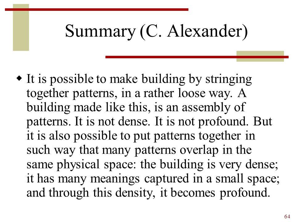 Summary (C. Alexander)