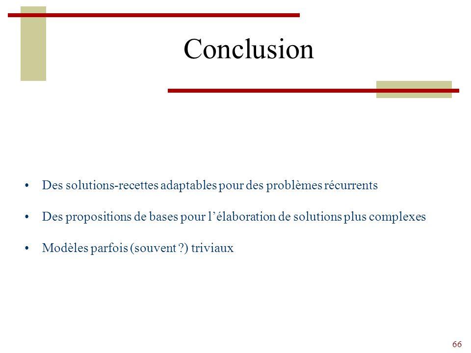 Conclusion Des solutions-recettes adaptables pour des problèmes récurrents. Des propositions de bases pour l'élaboration de solutions plus complexes.