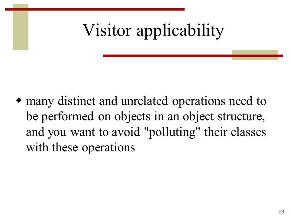 Visitor applicability