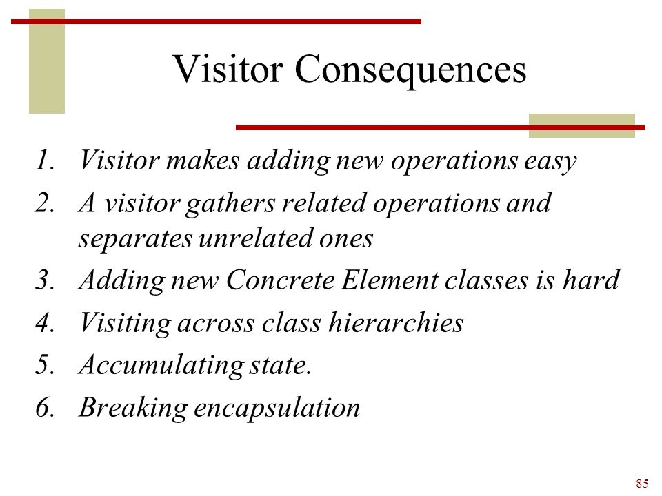 Visitor Consequences Visitor makes adding new operations easy