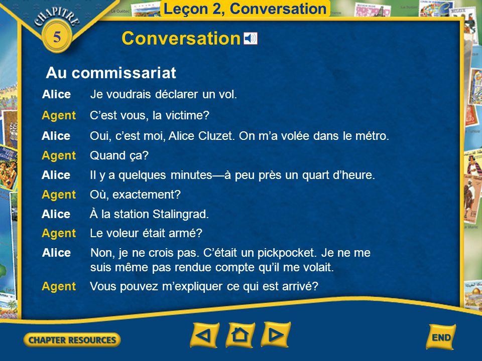 Conversation Au commissariat Leçon 2, Conversation