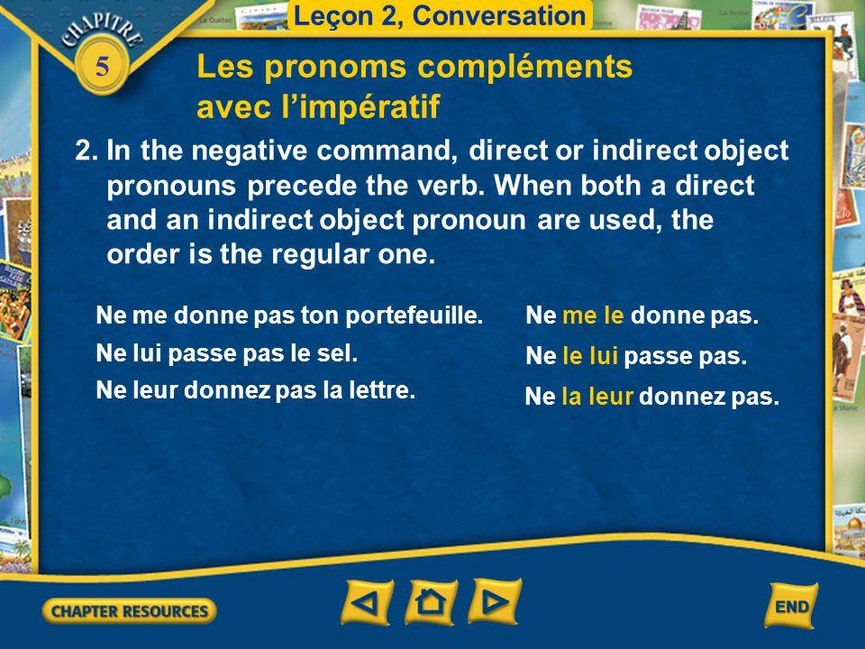 Les pronoms compléments avec l'impératif