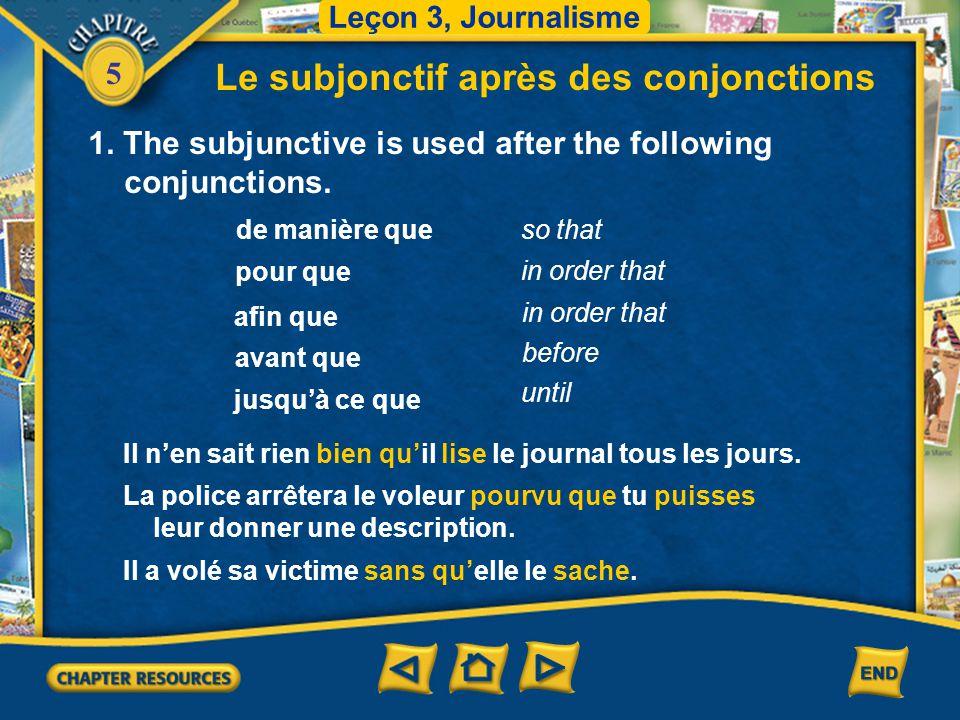 Le subjonctif après des conjonctions
