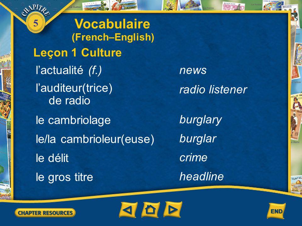 Vocabulaire Leçon 1 Culture l'actualité (f.) news l'auditeur(trice)