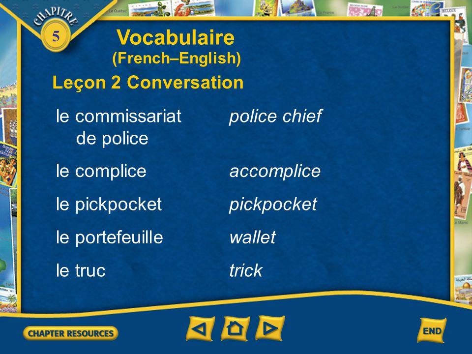 Vocabulaire Leçon 2 Conversation le commissariat de police