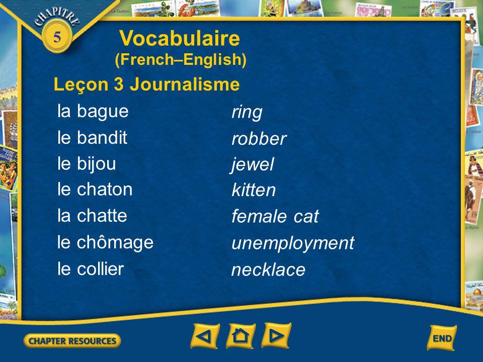 Vocabulaire Leçon 3 Journalisme la bague ring le bandit robber