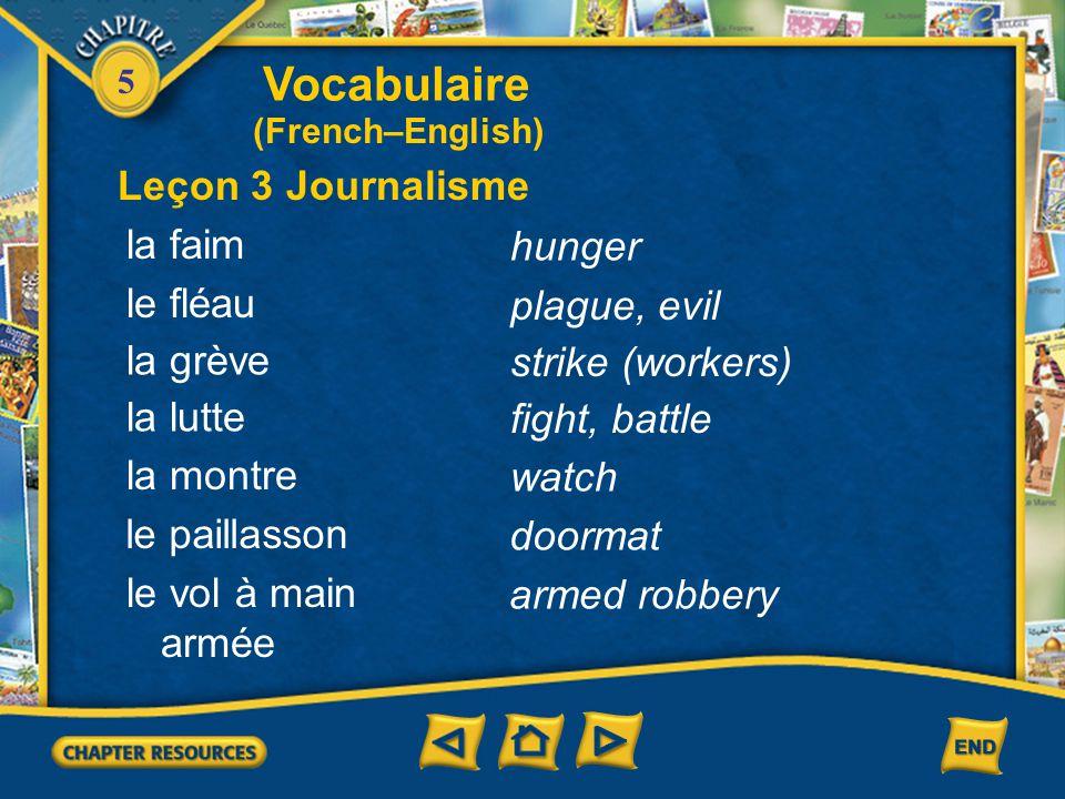Vocabulaire Leçon 3 Journalisme la faim hunger le fléau plague, evil