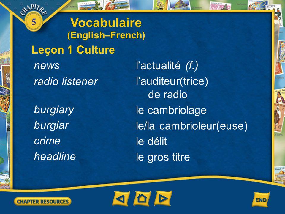 Vocabulaire Leçon 1 Culture news l'actualité (f.) radio listener