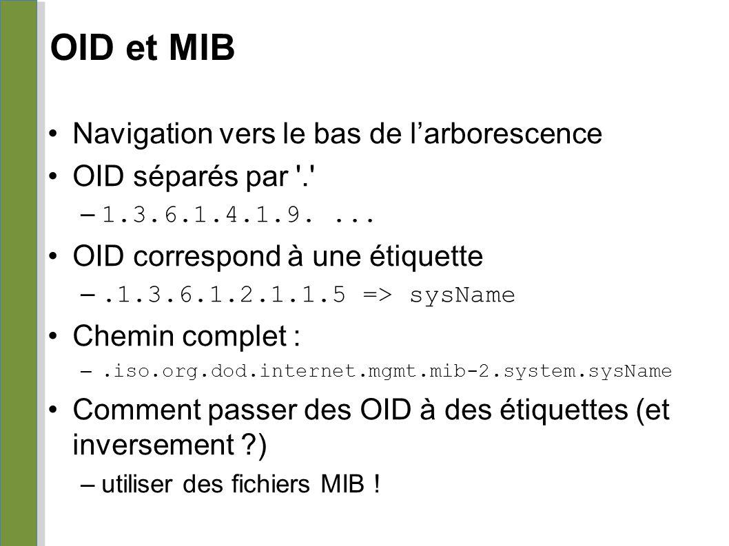 OID et MIB Navigation vers le bas de l'arborescence