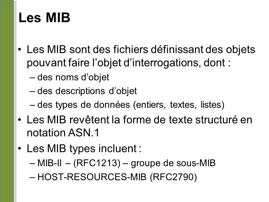 Les MIB 04/25/10. Les MIB sont des fichiers définissant des objets pouvant faire l'objet d'interrogations, dont :