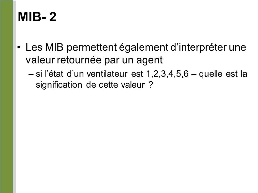 MIB- 2 04/25/10. Les MIB permettent également d'interpréter une valeur retournée par un agent.