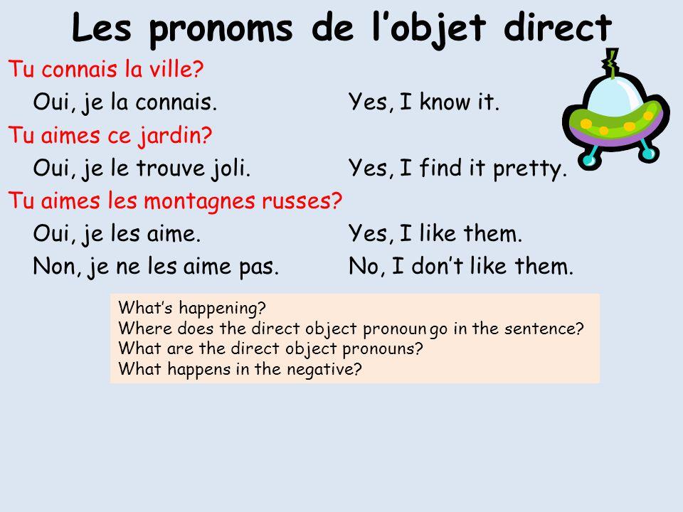 Les pronoms de l'objet direct