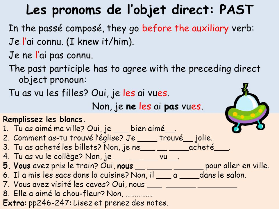 Les pronoms de l'objet direct: PAST