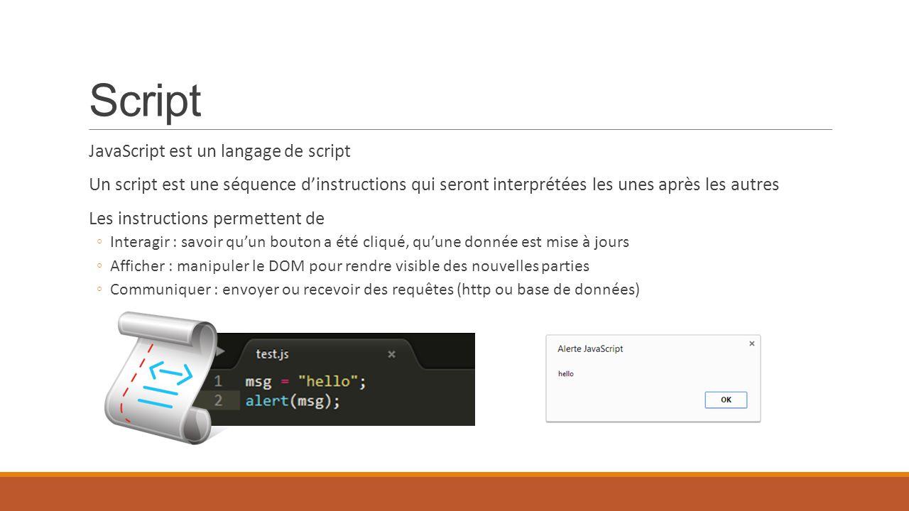 Script JavaScript est un langage de script