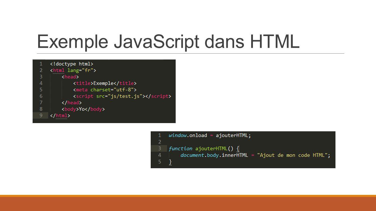 Exemple JavaScript dans HTML
