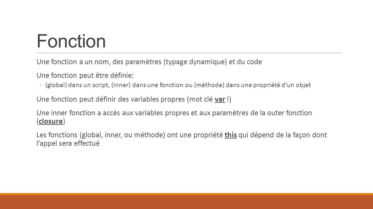 Fonction Une fonction a un nom, des paramètres (typage dynamique) et du code. Une fonction peut être définie: