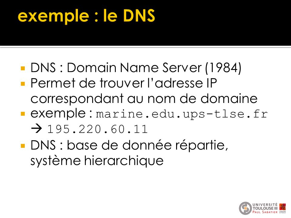 exemple : le DNS DNS : Domain Name Server (1984)