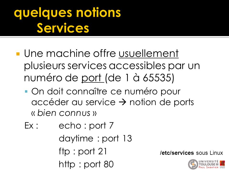 quelques notions Services