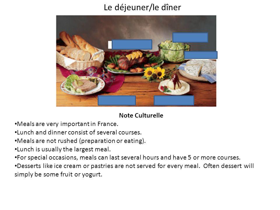 Le déjeuner/le dîner Note Culturelle