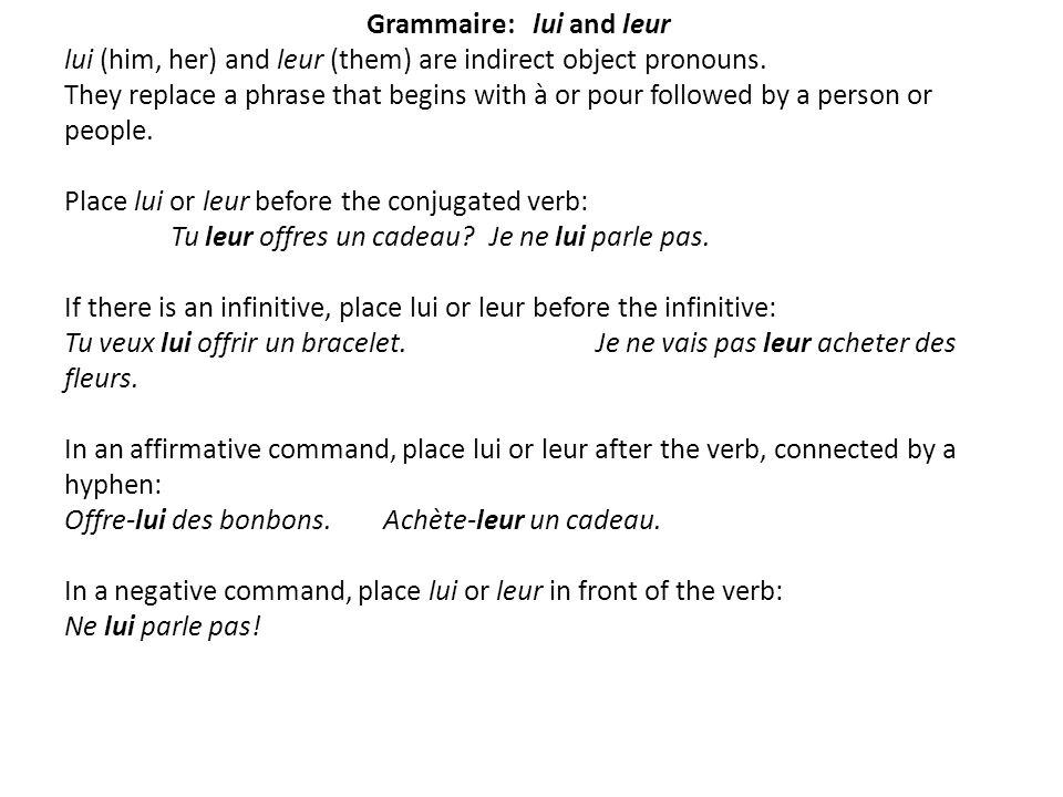Grammaire: lui and leur