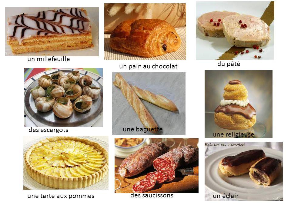 un millefeuille du pâté. un pain au chocolat. des escargots. une baguette. une religieuse. une tarte aux pommes.