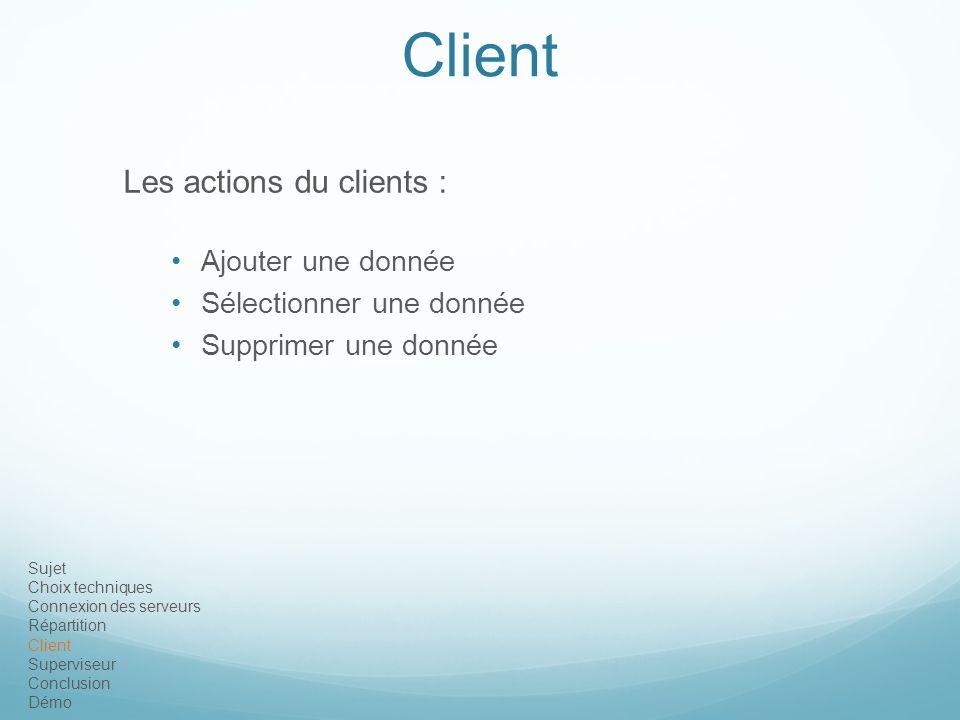 Client Les actions du clients : Ajouter une donnée