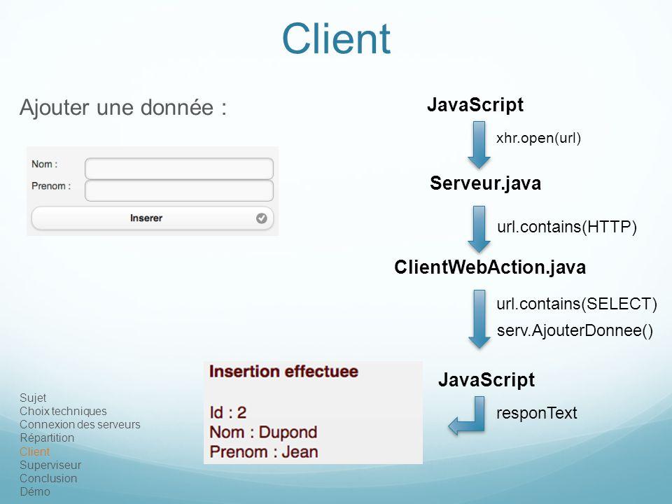Client Ajouter une donnée : JavaScript Serveur.java