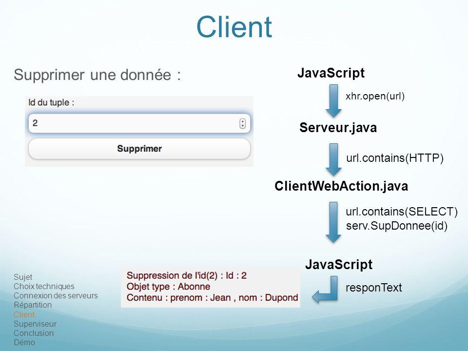 Client Supprimer une donnée : JavaScript Serveur.java